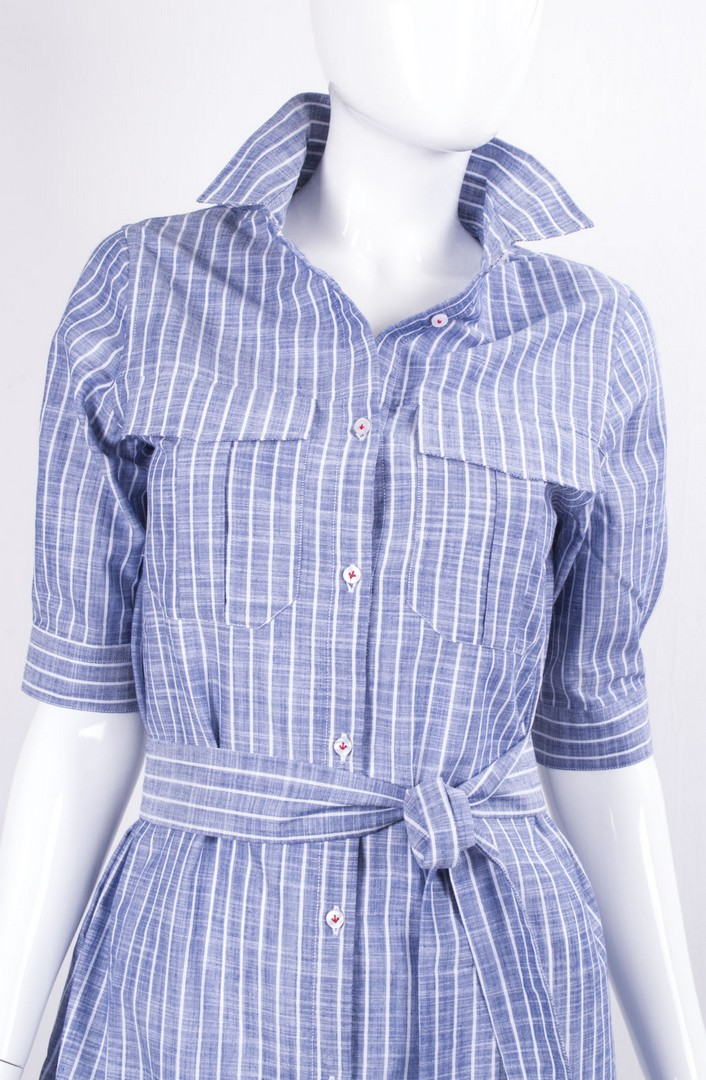 Woman BiancoSchariff C Camicia Celeste Up it M Vestito Rigato OPn0wk